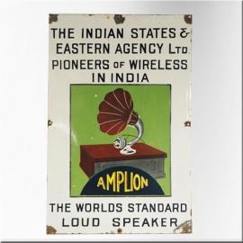 Plaque émaillée à décor de phonographe