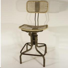 Chaise de bureau en fer et cane