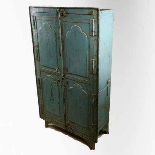 armoire 2 portes en fer laqu bleu jdeco marine. Black Bedroom Furniture Sets. Home Design Ideas