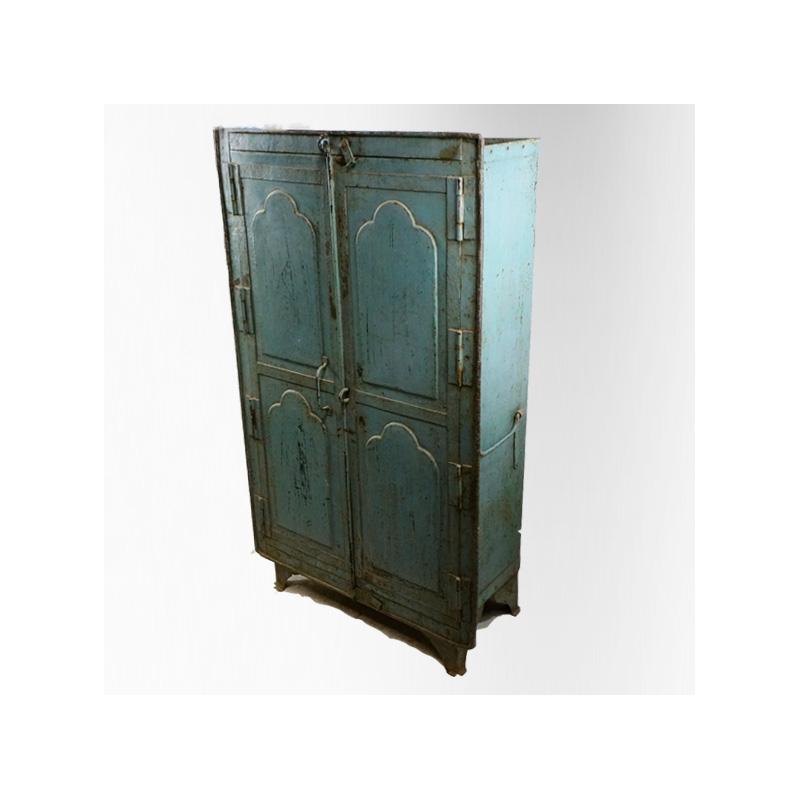 armoire 2 portes en fer laqu bleu jdeco marine. Black Bedroom Furniture Sets. Home Design Ideas