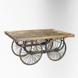 Chariot étal de présentation en teck 4 roues