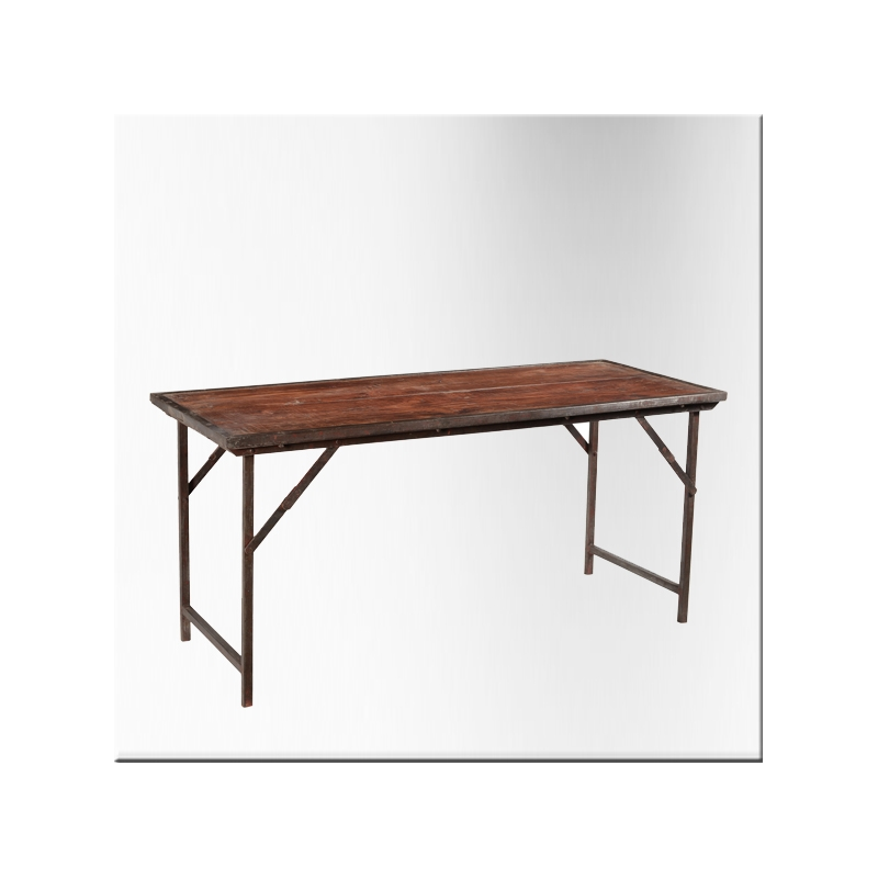 Table pliante rectangulaire en teck pied en fer jdeco - Table pliante teck ...