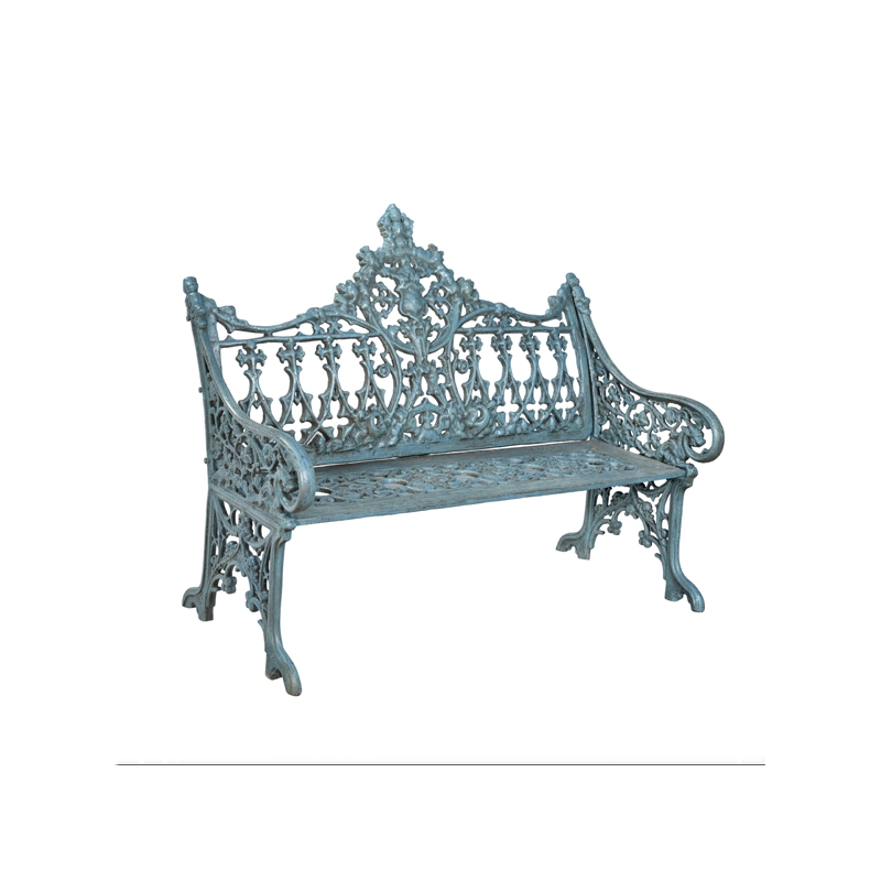 Blue lacquered cast iron garden bench jdeco marine - Chaise de jardin bleu marine ...