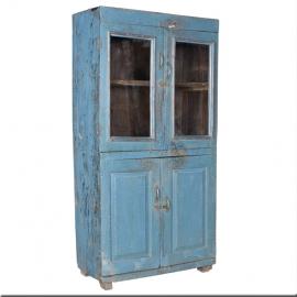 Armoire laquée bleu 4 portes