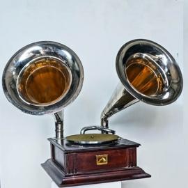 Phonographe 2 pavillons en laiton chrome