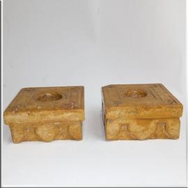 Bougeoirs en marbre de Jaisalmer (Paire de)