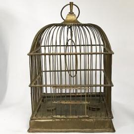 Cage à oiseaux en laiton de forme carrée