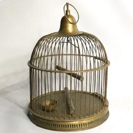 Cage à oiseaux en laiton de forme ronde