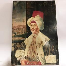 Huile sur panneau en bois, portrait Maharadjah