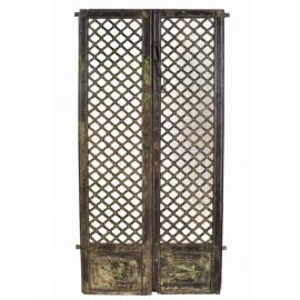 Portes (Paire de) laquée avec fond miroir XVIIIème S.