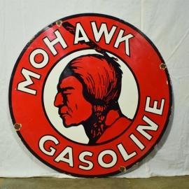 Plaque émaillée 'MOHAWK GASOLINE'