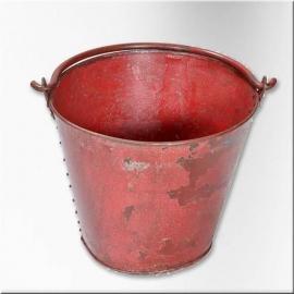 Seau incendie en fer laqué rouge