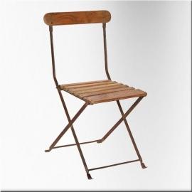 Chaise en fer et lattes bois
