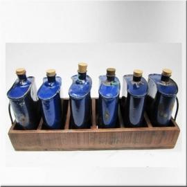 Caisse en bois (petit modèle) avec bouteilles laquées bleues