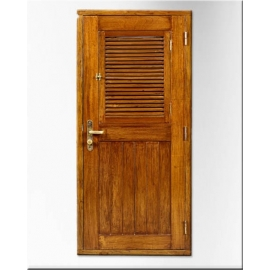 Mahogany wood ship door with opening shutters