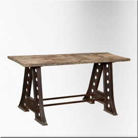 Rectangular iron and teackwood table