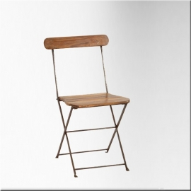 Iron and teakwood folding chair