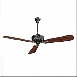 Iron fan with 3 wooden blades