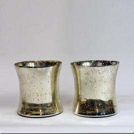 Vases (Paire de) en verre églomisé
