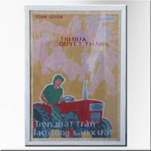 Affiche originale de propagande vietnamienne encadrée