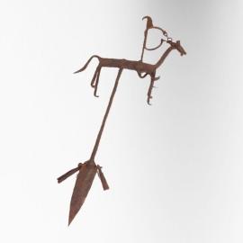 Figure équestre en fer à patine rouille. Malie, Bambara