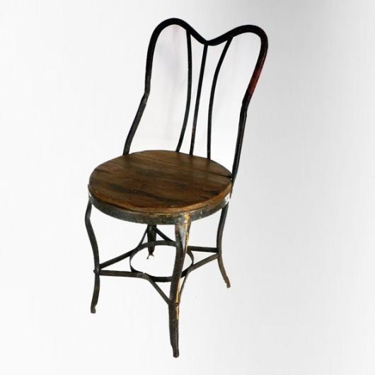 Chaise de jardin en fer et bois dossier lyre