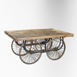 4 wheels teakwood cart