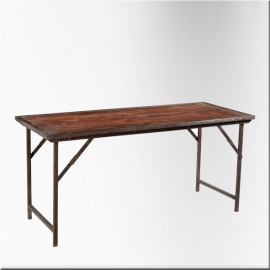Teakwood rectangular folding table iron feet