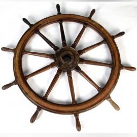 Grande roue de barre en chêne verni et cuivre