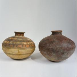 Painted terracotta water jar