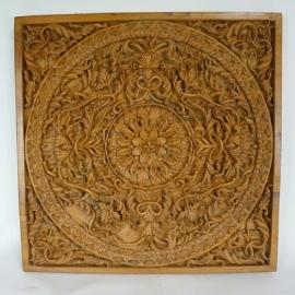 Sculpted teakwood panel 19th C.