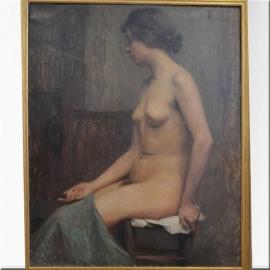 Huile sur toile, nu dans un atelier, signé TB