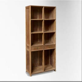 Teakwood bookcase - 8 racks, 2 drawers