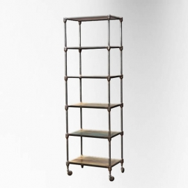 Black polished iron rack with 6 wooden trays