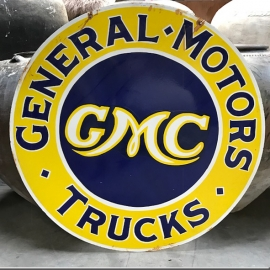 Enamelled plate (very large model) 'GMC'