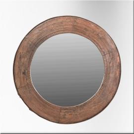 Miroir (grand modèle) dans cadre rond en teck