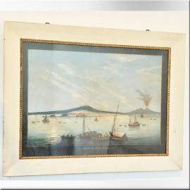 Gouache Napolitaine, baie de Naple. XIXème S.