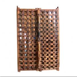 Portes de Jaisalmer en teck et miroir (Paire de) (Petit modèle)