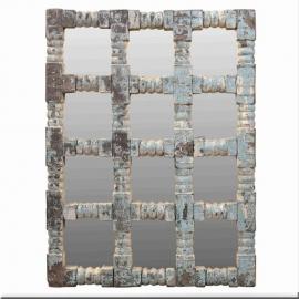 Miroir en bois laqué bleu