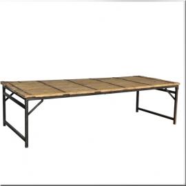 Table sur piètement pliant en fer