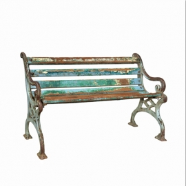 Bench in cast iron and teak slats late 19th C.