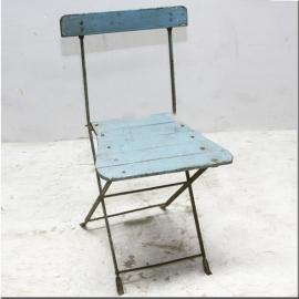 Folding blue iron chair