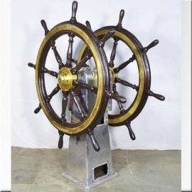 Double barre à roue en aluminium laiton et bois
