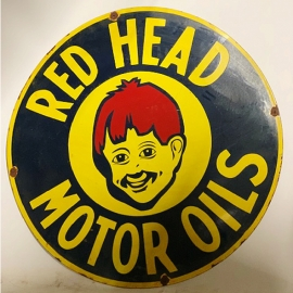 Round enamelled RED HEAD