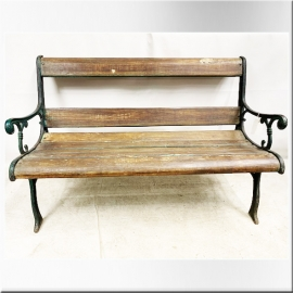 Teak and cast iron outdoor bench