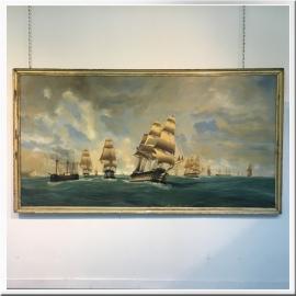 Chéri-François DUBREUIL, huile sur toile, Navires au détroit de Gibraltar, signé
