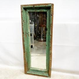 Miroir rectangulaire teck laqué bleu