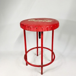Lacquered iron Coca-Cola stool