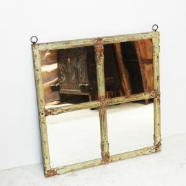 Miroir acrré à 4 carreaux et encadrement en teck