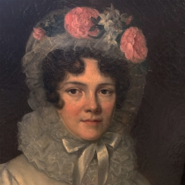 Oil on canvas. Portrait de Marie Charlotte Hyacinthe de la Vallée Rarécourt de Prinodan